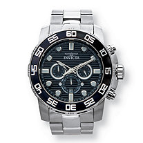 SETA JEWELRY Men's Invicta Pro Diver Multi-Dial Watch With Black Textured Face in Stainless Steel 9