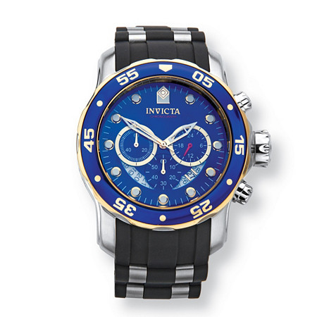"Men's Invicta Pro Diver Multi-Dial Watch with Blue Face and Two-Tone Silicone Band in Stainless Steel Expandable 10"" at PalmBeach Jewelry"