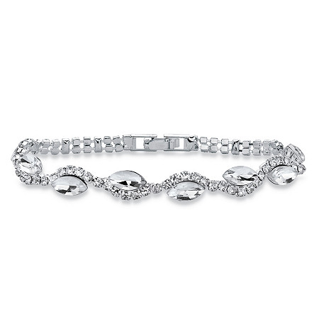"""Marquise-Cut Crystal Twisted Strand Bracelet in Silvertone 7"""" at PalmBeach Jewelry"""