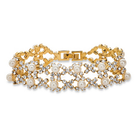 "Round Simulated Pearl and Crystal Twisted Strand Bracelet in Gold Tone 7"" at PalmBeach Jewelry"