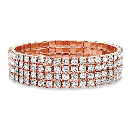 "Round Crystal Multi-Row Stretch Bracelet in Rose Gold Tone 7"" at PalmBeach Jewelry"