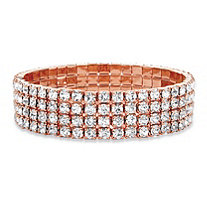 Round Crystal Multi-Row Stretch Bracelet in Rose Gold Tone 7""