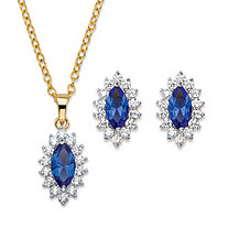 "Marquise-Cut Blue Crystal and Cubic Zirconia 2-Piece Halo Stud Earrings and Pendant Necklace Set 1.47 TCW 14k Gold-Plated 18""-20"""
