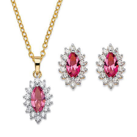 Marquise-Cut Pink Crystal and Cubic Zirconia 2-Piece Halo Stud Earrings and Necklace Set 1.47 TCW 14k Gold-Plated 18