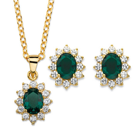 Oval-Cut Emerald Green Crystal and Cubic Zirconia 2-Piece Halo Stud Earrings and Necklace Set 1.71 TCW 14k Gold-Plated 18