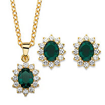"Oval-Cut Emerald Green Crystal and Cubic Zirconia 2-Piece Halo Stud Earrings and Necklace Set 1.71 TCW 14k Gold-Plated 18""-20"""