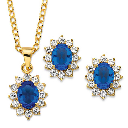 Oval-Cut Simulated Blue Sapphire and Cubic Zirconia 2-Piece Halo Earrings and Necklace Set 1.71 TCW 14k Gold-Plated 18