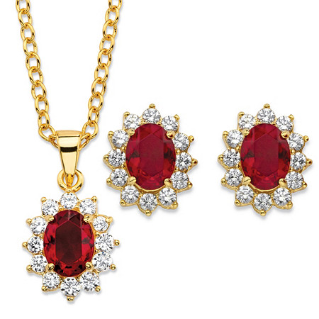 Oval-Cut Simulated Red Ruby and Cubic Zirconia 2-Piece Halo Stud Earrings and Necklace Set 1.71 TCW 14k Gold-Plated 18