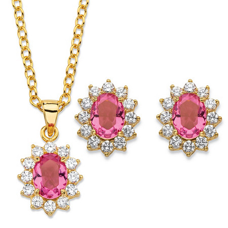 Oval-Cut Pink Crystal and Cubic Zirconia 2-Piece Halo Stud Earrings and Necklace Set 1.71 TCW 14k Gold-Plated 18