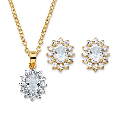Oval-Cut Crystal and Cubic Zirconia 2-Piece Halo Stud Earrings and Necklace Set 1.71 TCW 14k Gold-Plated 18