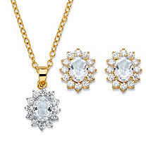"Oval-Cut Crystal and Cubic Zirconia 2-Piece Halo Stud Earrings and Necklace Set 1.71 TCW 14k Gold-Plated 18""-20"""