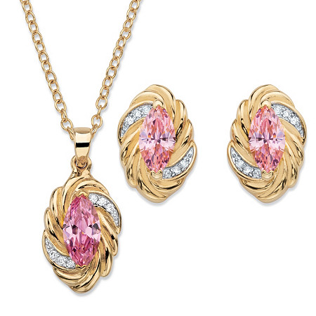 Marquise-Cut Pink Cubic Zirconia Twisted 2-Piece Stud Earrings and Necklace Set 4.18 TCW 14k Gold-Plated 18