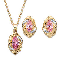 "Marquise-Cut Pink Cubic Zirconia Twisted 2-Piece Stud Earrings and Necklace Set 4.18 TCW 14k Gold-Plated 18""-20"""
