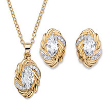 "Marquise-Cut Cubic Zirconia Braided Twist 2-Piece Stud Earrings and Necklace Set 4.18 TCW 14k Gold-Plated 18""-20"""