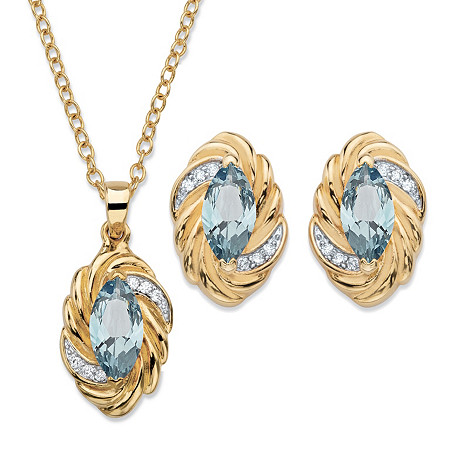 Marquise-Cut Sky Blue Cubic Zirconia Braided Twist 2-Piece Stud Earrings and Necklace Set 4.18 TCW 14k Gold-Plated 18