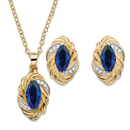 Marquise-Cut Sapphire Blue Cubic Zirconia Braided Twist 2-Piece Stud Earrings and Necklace Set 4.18 TCW 14k Gold-Plated 18