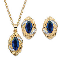 "Marquise-Cut Sapphire Blue Cubic Zirconia Braided Twist 2-Piece Stud Earrings and Necklace Set 4.18 TCW 14k Gold-Plated 18""-20"""