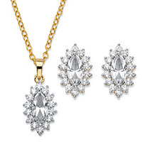 "Marquise-Cut Crystal and Cubic Zirconia 2-Piece Halo Stud Earrings and Necklace Set 1.47 TCW 14k Gold-Plated 18""-20"""