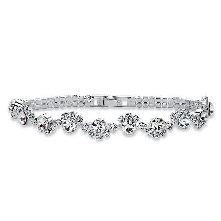 "Round Crystal Twisted Strand Bracelet in Silvertone 7"" at PalmBeach Jewelry"