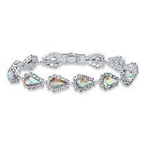 Pear-Cut Aurora Borealis Crystal Halo Strand Bracelet in Silvertone 7