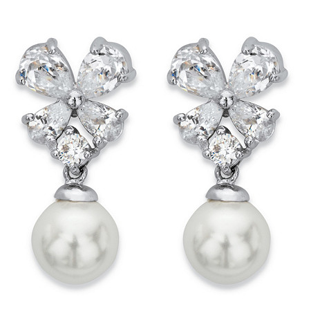 Simulated Pearl and Cubic Zirconia Floral Drop Earrings 2.56 TCW in Silvertone at PalmBeach Jewelry