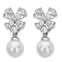Simulated Pearl and Cubic Zirconia Floral Drop Earrings 2.56 TCW in Silvertone
