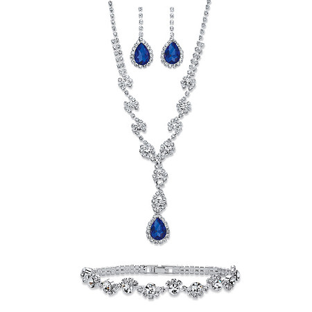 "Pear-Cut Blue and White Crystal 3-Piece Halo Earrings, Twisted Strand Y Necklace and Bracelet Set in Silvertone 15""-20"" at PalmBeach Jewelry"