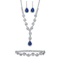 "Pear-Cut Blue and White Crystal 3-Piece Halo Earrings, Twisted Strand Y Necklace and Bracelet Set in Silvertone 15""-20"""