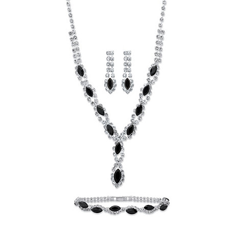 Marquise-Cut Black and White Crystal 3-Piece Halo Earrings, Twisted Strand Necklace and Bracelet Set in Silvertone 18