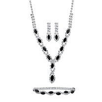 "Marquise-Cut Black and White Crystal 3-Piece Halo Earrings, Twisted Strand Necklace and Bracelet Set in Silvertone 18""-23"""