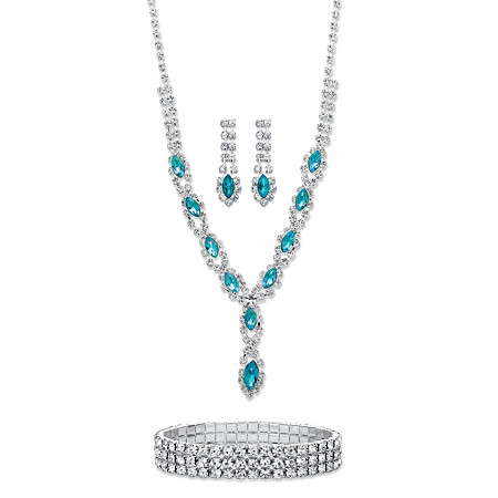 Marquise-Cut Aquamarine Blue Crystal Halo 3-Piece Earrings, Twisted Strand Necklace and Stretch Bracelet Set in Silvertone 18