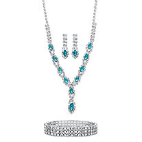 "Marquise-Cut Aquamarine Blue Crystal Halo 3-Piece Earrings, Twisted Strand Necklace and Stretch Bracelet Set in Silvertone 18""-23"""