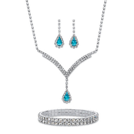 Pear-Cut Aquamarine Blue and White Crystal 3-Piece Halo Earrings, Y Necklace and Stretch Bracelet Set in Silvertone 13