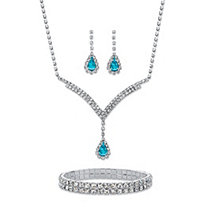 "Pear-Cut Aquamarine Blue and White Crystal 3-Piece Halo Earrings, Y Necklace and Stretch Bracelet Set in Silvertone 13""-17"""