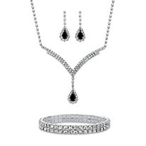 "Pear-Cut Black and White Crystal Halo 3-Piece Earrings, Y Necklace and Stretch Bracelet Set in Silvertone 13""-17"""