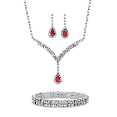 Pear-Cut Red and White Crystal Halo 3-Piece Earrings, Y Necklace and Stretch Bracelet Set in Silvertone 13