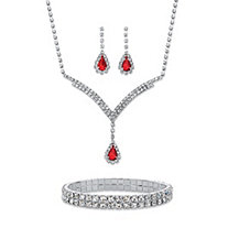 "Pear-Cut Red and White Crystal Halo 3-Piece Earrings, Y Necklace and Stretch Bracelet Set in Silvertone 13""-17"""