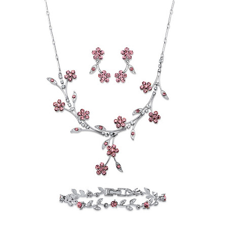 "Pink and White Crystal 3-Piece Floral Vine Necklace, Earrings and Bracelet Set in Silvertone 16.5""-19.5"" at PalmBeach Jewelry"