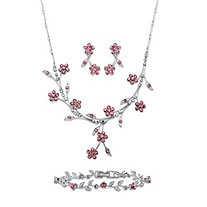 "Pink and White Crystal 3-Piece Floral Vine Necklace, Earrings and Bracelet Set in Silvertone 16.5""-19.5"""