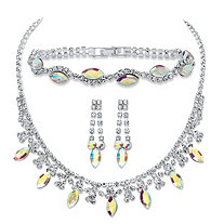 "Marquise-Cut Aurora Borealis Crystal 3-Piece Necklace, Earrings and Bracelet Set in Silvertone 14""-18"""