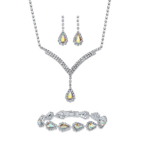 "Pear-Cut Aurora Borealis Crystal 3-Piece Halo Drop Earrings, Necklace and Bracelet Set in Silvertone 13""-17"" at PalmBeach Jewelry"