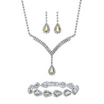 "Pear-Cut Aurora Borealis Crystal 3-Piece Halo Drop Earrings, Necklace and Bracelet Set in Silvertone 13""-17"""