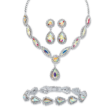 "Pear and Marquise-Cut Aurora Borealis Crystal 3-Piece Halo Earrings, Drop Necklace and Bracelet Set in Silvertone 14""-18"" at PalmBeach Jewelry"