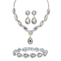 "Pear and Marquise-Cut Aurora Borealis Crystal 3-Piece Halo Earrings, Drop Necklace and Bracelet Set in Silvertone 14""-18"""