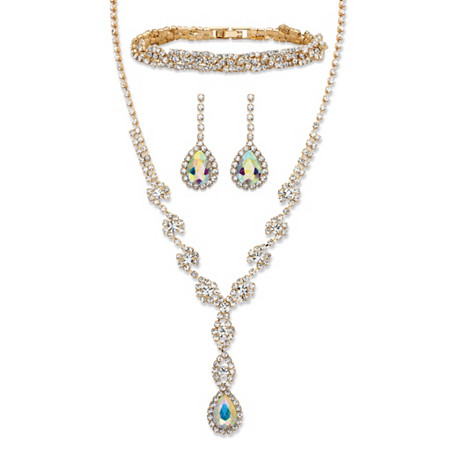 "Pear-Cut Aurora Borealis Crystal 3-Piece Halo Earrings, Twisted Strand Y Necklace and Bracelet Set in Gold Tone 15""-20"" at PalmBeach Jewelry"