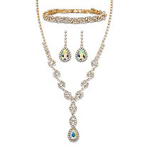 "Pear-Cut Aurora Borealis Crystal 3-Piece Halo Earrings, Twisted Strand Y Necklace and Bracelet Set in Gold Tone 15""-20"""
