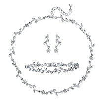 """Marquise-Cut and Round Crystal 3-Piece Floral Vine Earrings, Necklace and Bracelet Set in Silvertone 14""""-16.5"""""""