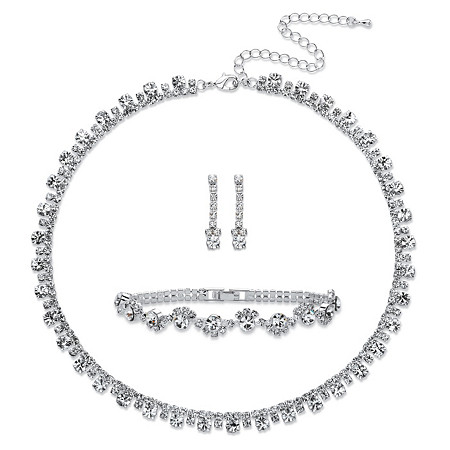 Round Crystal 3-Piece Drop Earrings, Necklace and Bracelet Set in Silvertone 16.5