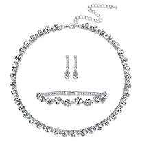 "Round Crystal 3-Piece Drop Earrings, Necklace and Bracelet Set in Silvertone 16.5""-20.5"""