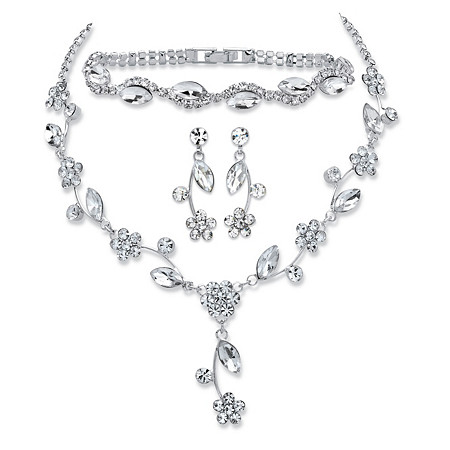 "Marquise-Cut Crystal 3-Piece Floral Vine Earrings, Necklace and Bracelet Set in Silvertone 13""-17"" at PalmBeach Jewelry"